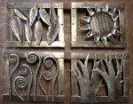 Four small grates depicting the Four Seasons - leaves, sunflower, fiddle heads & bare trees