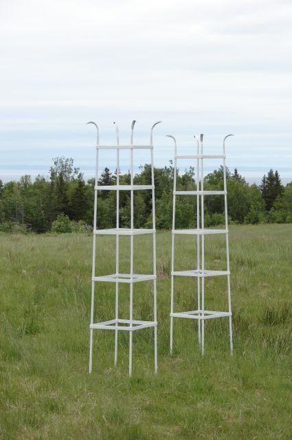 white obelisks