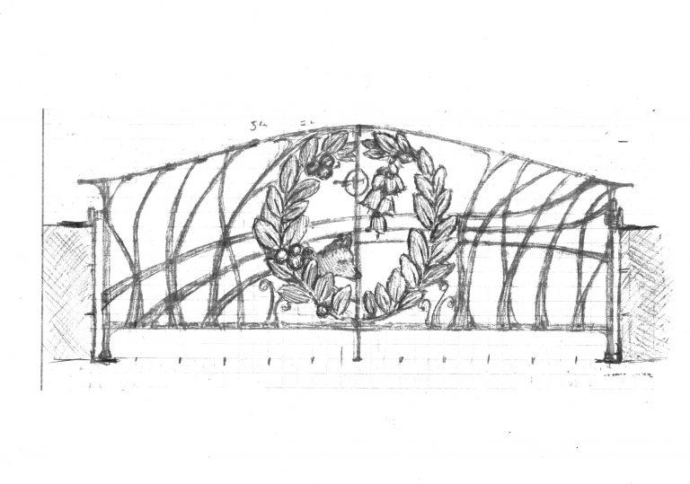 Shop drawing, Medallion Gate house view